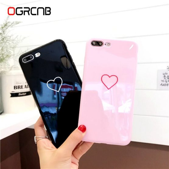 Lovely Heart Painted Phone Case For iphone X Xs max Xr Case Fashion Couples Soft TPU Cover Cases For iphone 6 6s 7 8 Plus Case