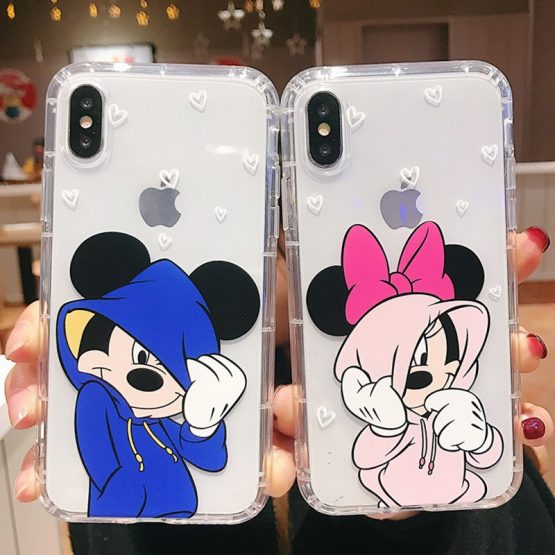 Cartoon Cute Mickey Minnie Soft Phone Case For iPhone 11Pro XR XS MAX 6 6s 8 X 7 Plus Clear Shockproof TPU Cover For iphone 7 8