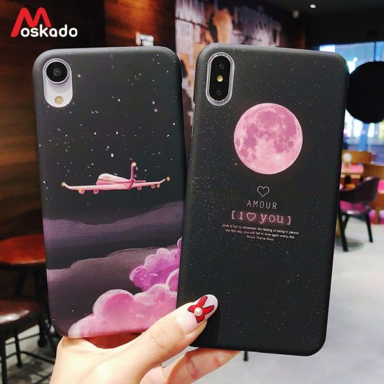 Moskado Aircraft Moon Phone Case For iphone 11 7 8 6s Plus X Starry Sky Stars Earth Space Cover For iphone XS Max X Hard PC Case