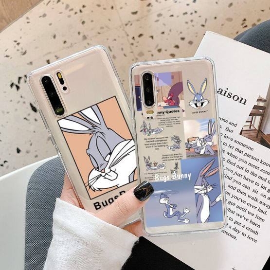 Cute Cartoon Rabbit Phone Case For Huawei P40 P30 P20 Lite Mate 30 Pro 20 P smart Nova 5t For Honor 10 8X 9X 7A 8a Soft Cover
