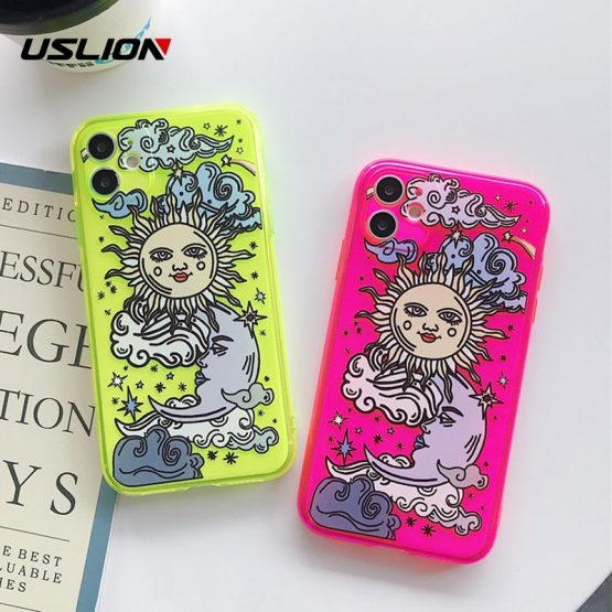 USLION Art Sun Face Fluorescence Phone Case For iPhone 7 11 Pro Max 7 8 Plus X XR XS MAX XS Cartoon Soft TPU Cover Coque