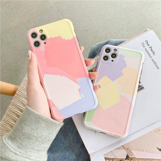 Small fresh cute Cartoon Anti-fall Pore Colorblock IMD For iphone 7 7plus 8 8Plus iphone X XR 11 pro MAX Case Cover Phone Case