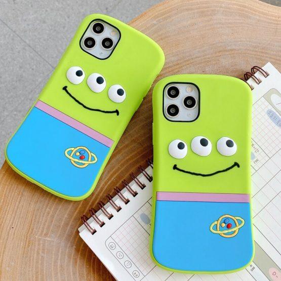 3D Cute Cartoon Alien Three Eyes Phone Case for iPhone XS 11 Pro Max XR X 6 6S 7 8 Plus Small Waist Soft Silicone Cover Fundas