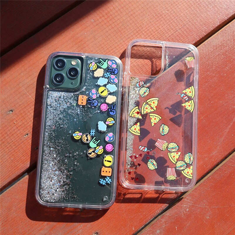 glitter quicksand small food pizza expression face sequins mobile phone case cover for iphone 11 pro max 6 6s 7 8 plus x xr xs