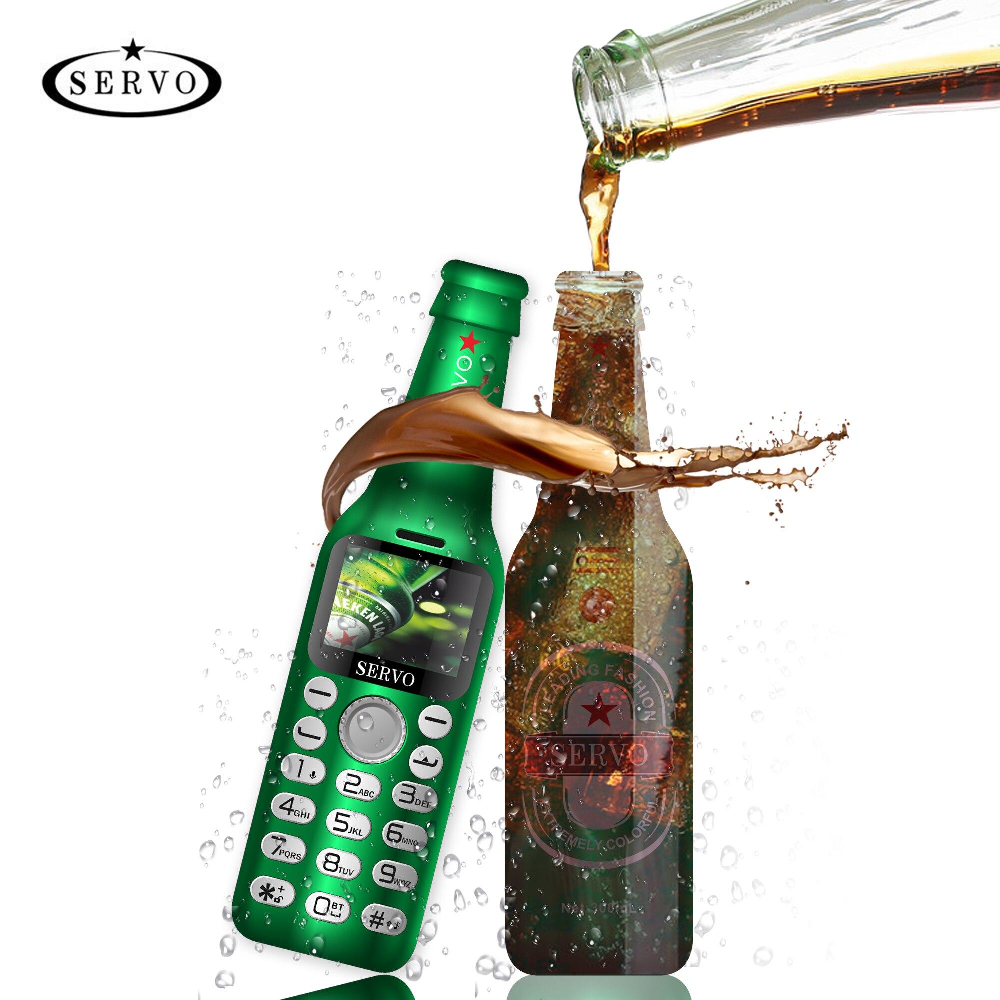 SERVO Wine bottle mini phone V8 bluetooth Dialer HD Telephone magic voice one key recorder small mobile phone Russian language