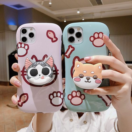 Cute Cartoon Cat And Dog Paw Phone Case For IPhone 11 Pro XS Max XR X 7 8 6 Plus Simple Bracket Small Waist Silicone Back Cover