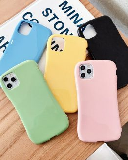 Glossy small waist phone silicone case For iphone 11 Pro XS MAX X XR 6 6S 7 8 plus shockproof soft green pink blue cover funda