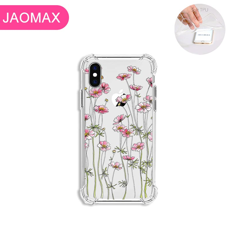 Jaomax Soft Luxury Shockproof Flower Phone Cases For iPhone 7 8 6 6s Plus X Xs Max 11 5S SE Xr Cute Small Floral Cover Fundas