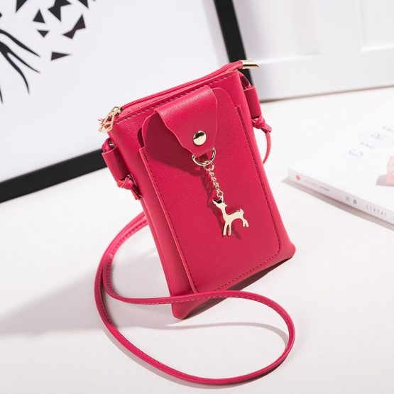 Fashion new hanging neck change bag vertical mobile phone bag female oblique mini tide zipper plus tide shoulder small bag