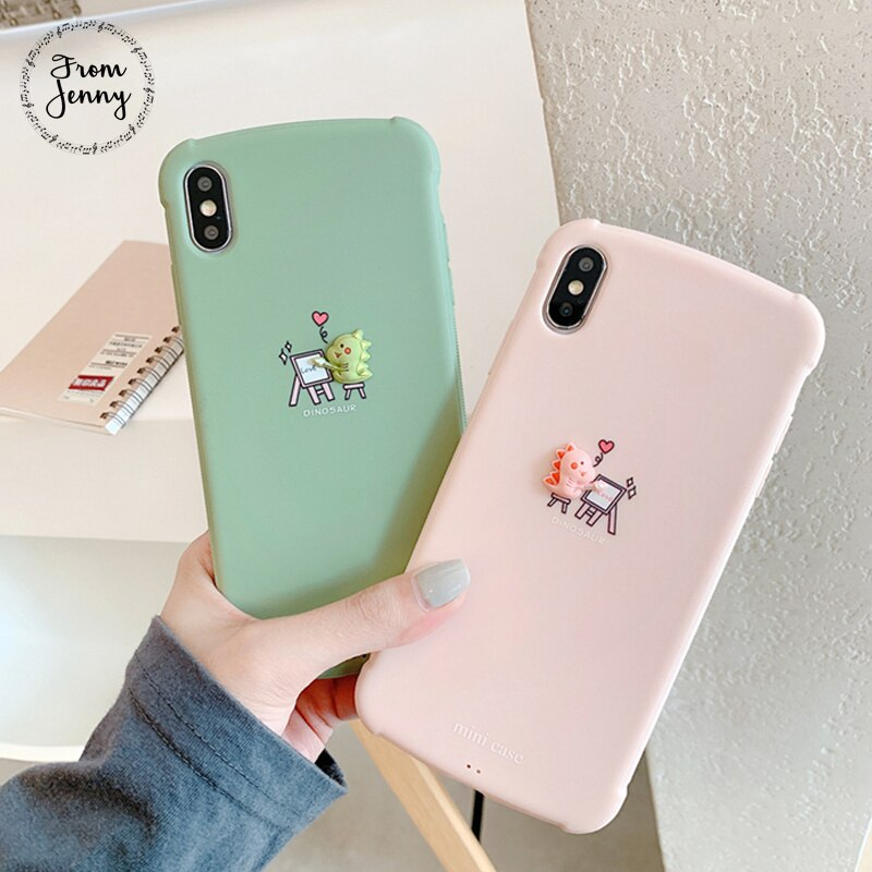 From Jenny Draw a small dinosaur for iPhone 11 Pro x xr xs max 6 6s 7 8 Plus solid color stereo phone TPU protection soft shell