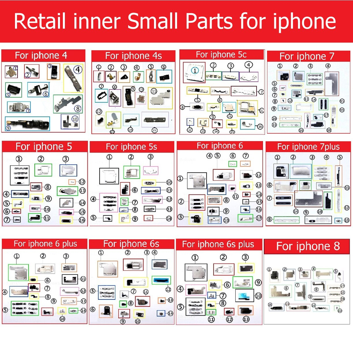 Retail inner Small Metal iron parts For iPhone 4 4s 5 5c 5s 6 6s 7 plus Small holder bracket shield plate set kit phone parts