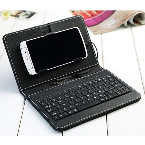 Portable PU Leather Flip Keyboard Flip Case For Smartphone