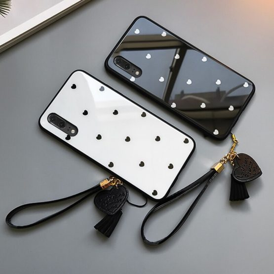 For VIVO Y19 Y17 Y15 Y12 Y5S Case Free Strap fashion Small love Heart Glass Hard protection phone Cover For vivo x30 Pro casing