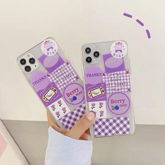 INS Korea cute purple lattice illustration small flower phone case for iPhone 11 pro MAX Xs MAX Xr X 7 8plus soft TPU back cover