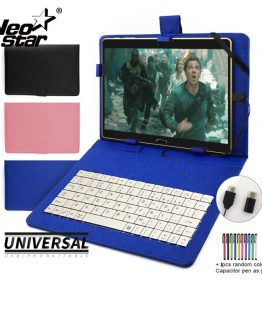 Universal Keyboard Case for Android Tablet 5-11 Mobile Phone Keyboard Case Cover With Russian Spanish Language Stickers