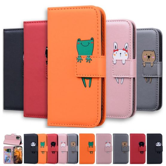 Luxury Leather Phone Wallet For Redmi 7A Redmi 8A Solid Color Phone Case Cute Pet Small Animals Panda Frog Cat Rabbit Dog E22G