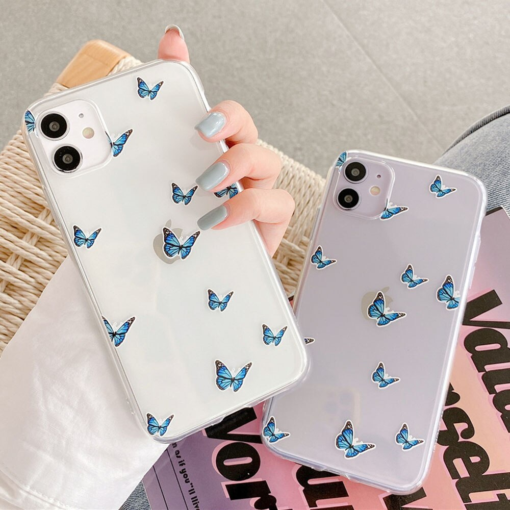 Cute small Blue Butterfly Shockproof Phone Case For iphone 11Pro Max 7 8 plus X XR XS Max Soft Silicone Transparent Back Cover