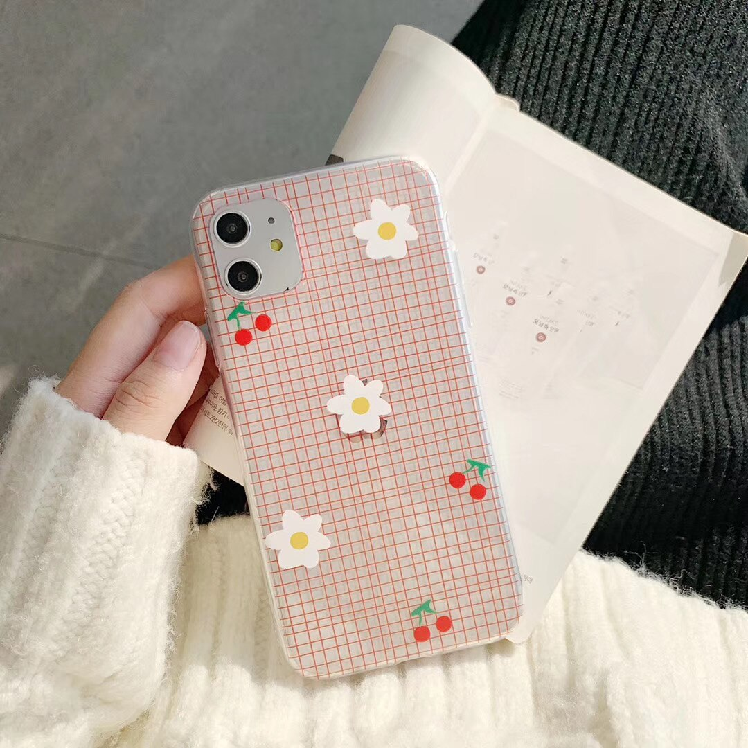INS cute minimalist cherry small daisy pink plaid phone case for iPhone 11 pro MAX Xs MAX Xr X 7 8 plus soft TPU back cover