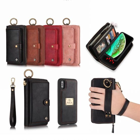 Slot Wallet Leather Case For iPhone X XR XS Max Case Zipper