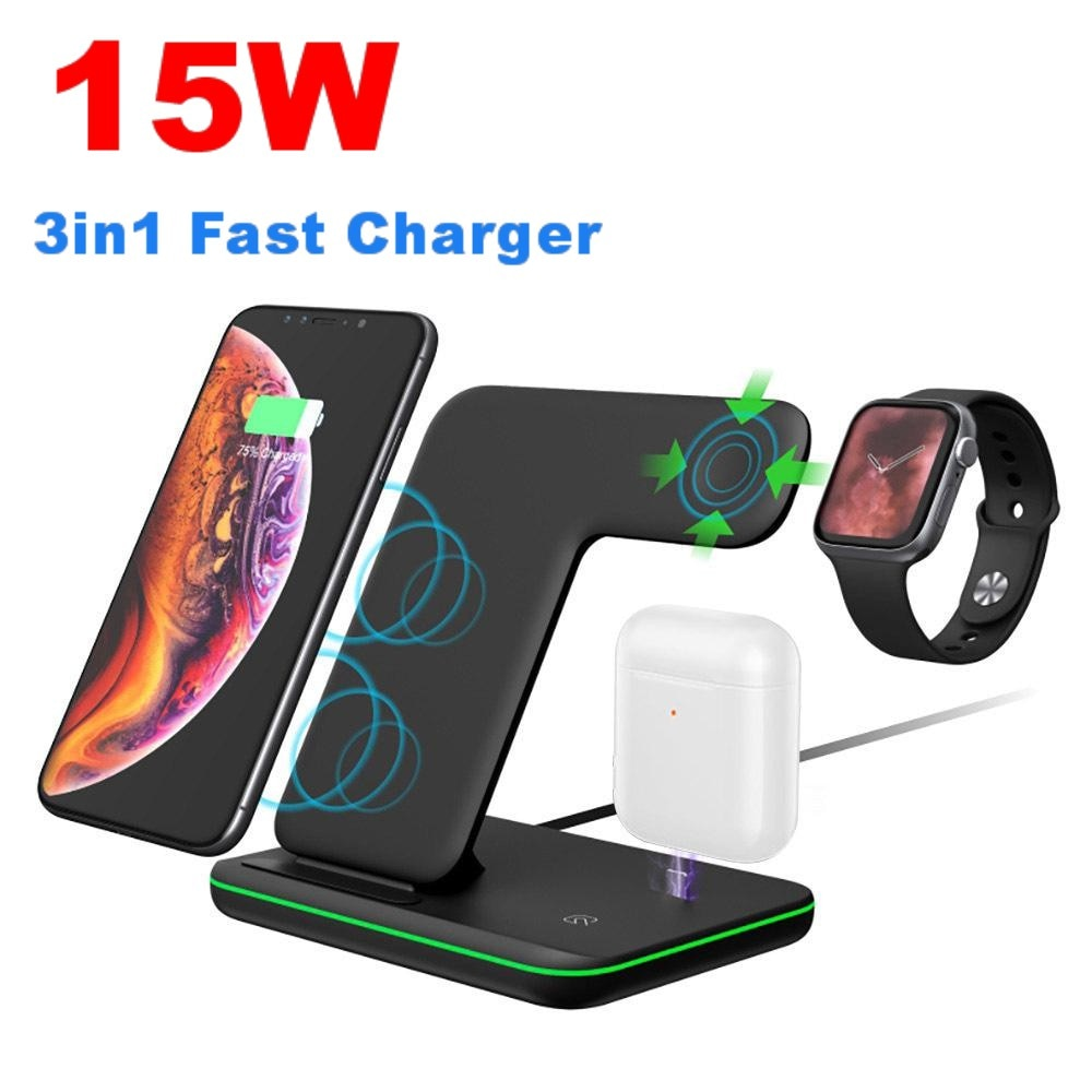 15W 3in1 Qi Wireless Charger Stand for iPhone 11 XS XR