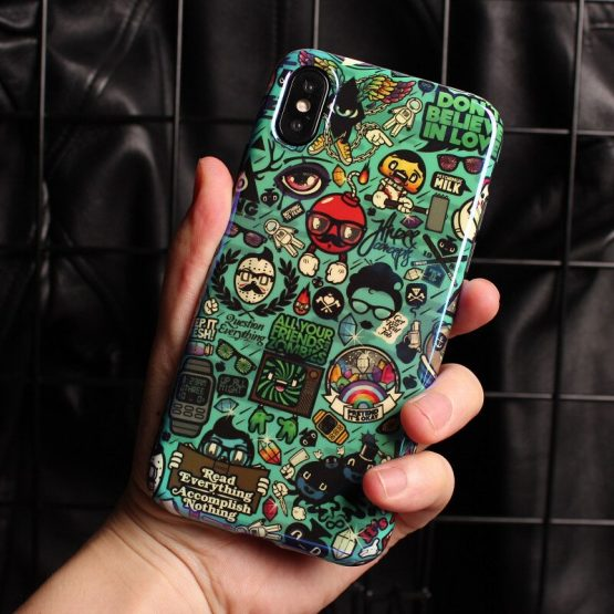 Green funny doodle cartoon case For iphone XS MAX
