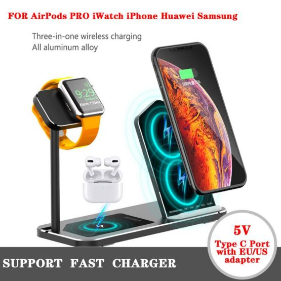 QI Fast Wireless Charger Stand Dock 3 in 1 Aluminum Alloy