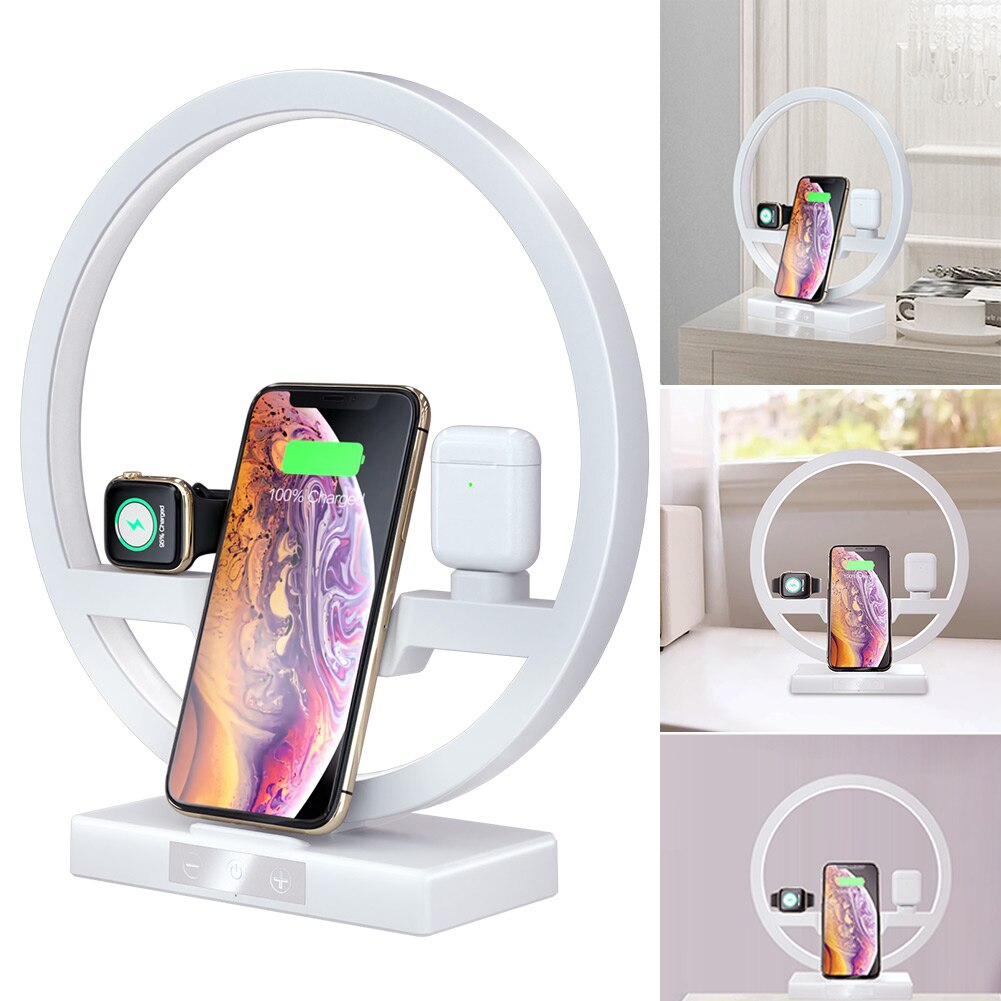 3 In 1 Table Desk Lamp Fast QI Wireless Charger Dock Station