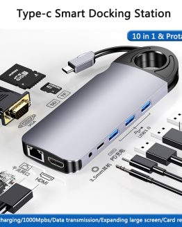 10 In 1 USB Hub For MacBook USB C To HDMI/VGA/RJ45 Thunderbolt 3