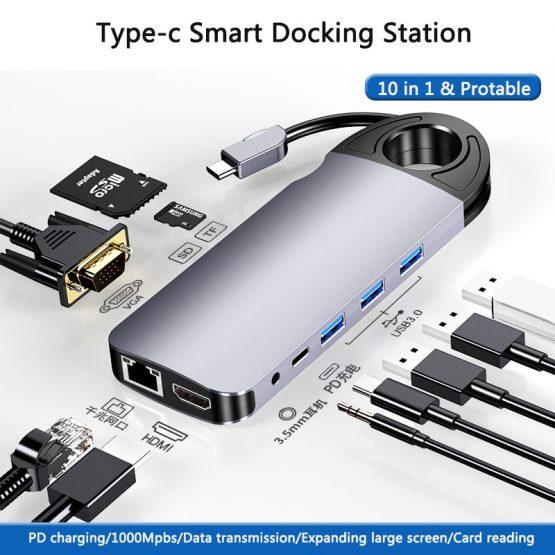 10 In 1 USB Hub For MacBook USB C To HDMI/VGA/RJ45 Thunderbolt 3