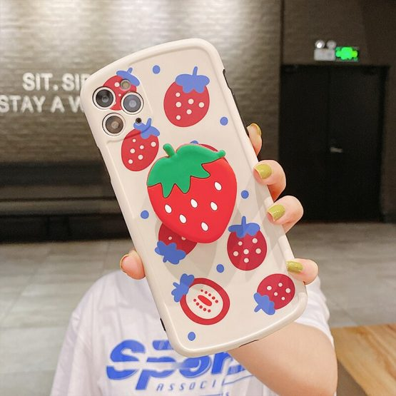 Case + stander For huawei P40 p30 p20 Cute Strawberry
