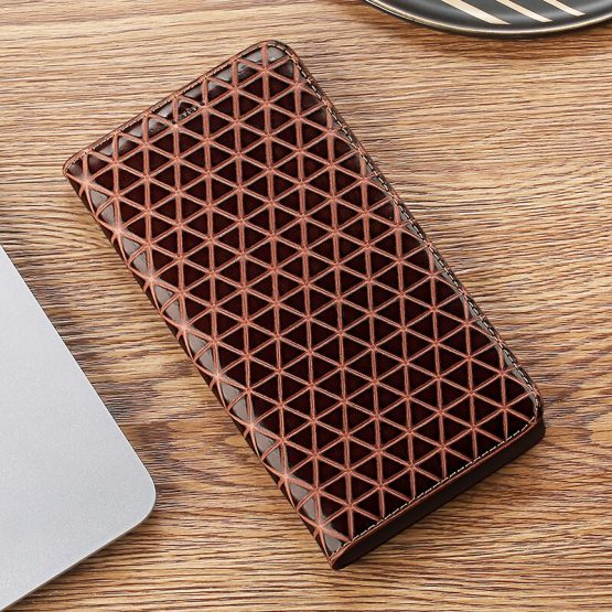 Grid Texture Genuine Leather Case For Apple iPhone