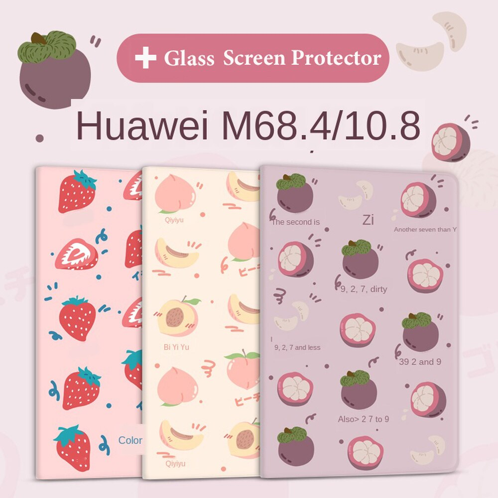 Cute Cartoon Fruit Painted Tablet Case for Huawei M6 10.8-Inch Cover M6 8.4-Inch Smart Stand Flip Case Silicone Protective Coque