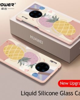 Fruit pineapple pattern Liquid silicone + Tempered Glass Case For Huawei Mate