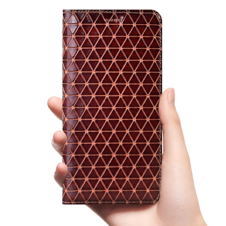 Grid Genuine Leather Flip Case For Apple iPhone 12 11 Pro