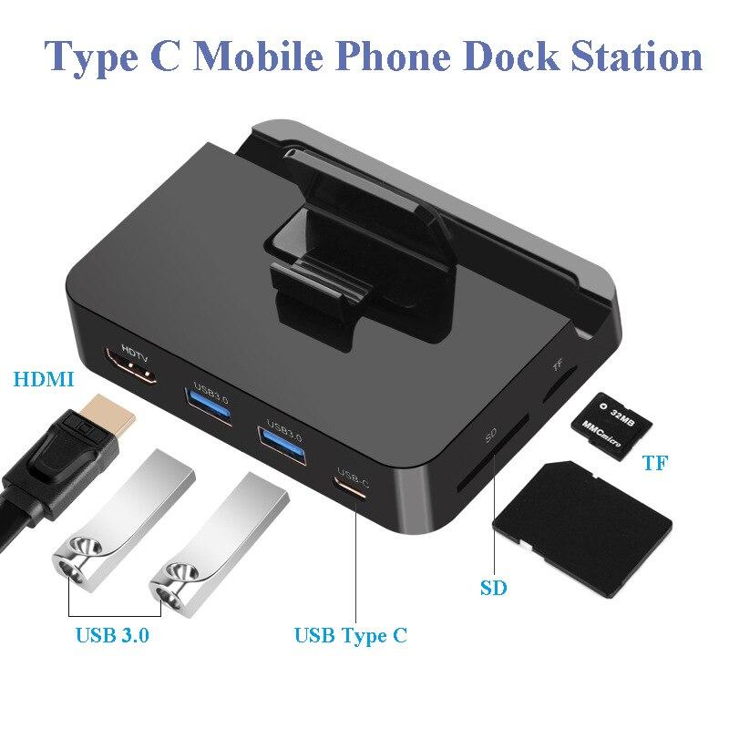 Mobile Phone USB Type C Docking Station Hub Holder