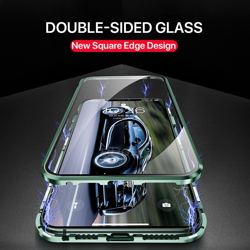 Square Edge Metal Bumper Double Sided Glass Case For iPhone 11
