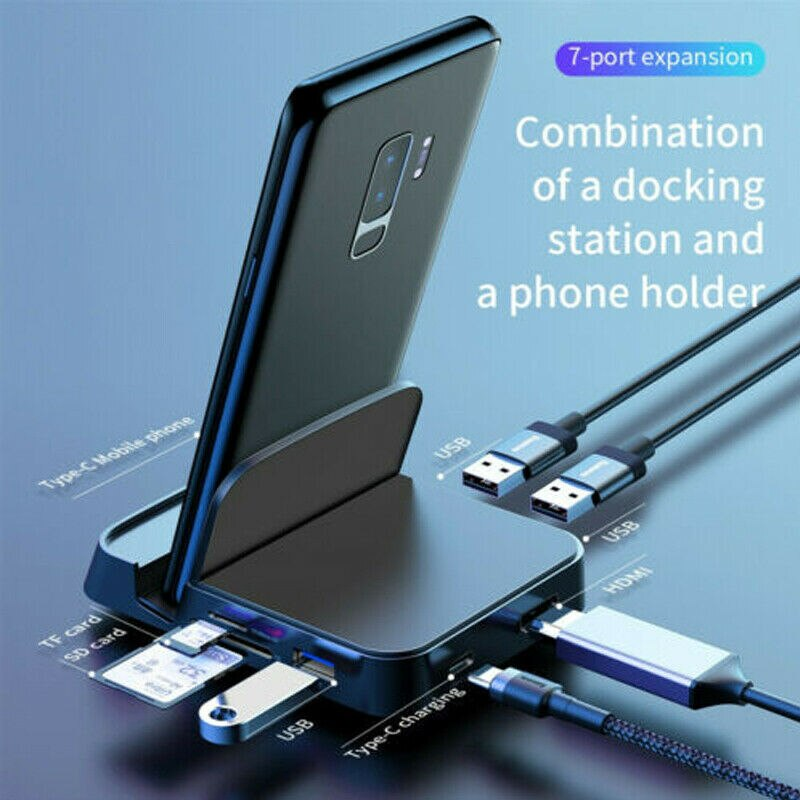 USB Type C to HUB HDMI USB SD/TF Docking Station Charging Power Adapter