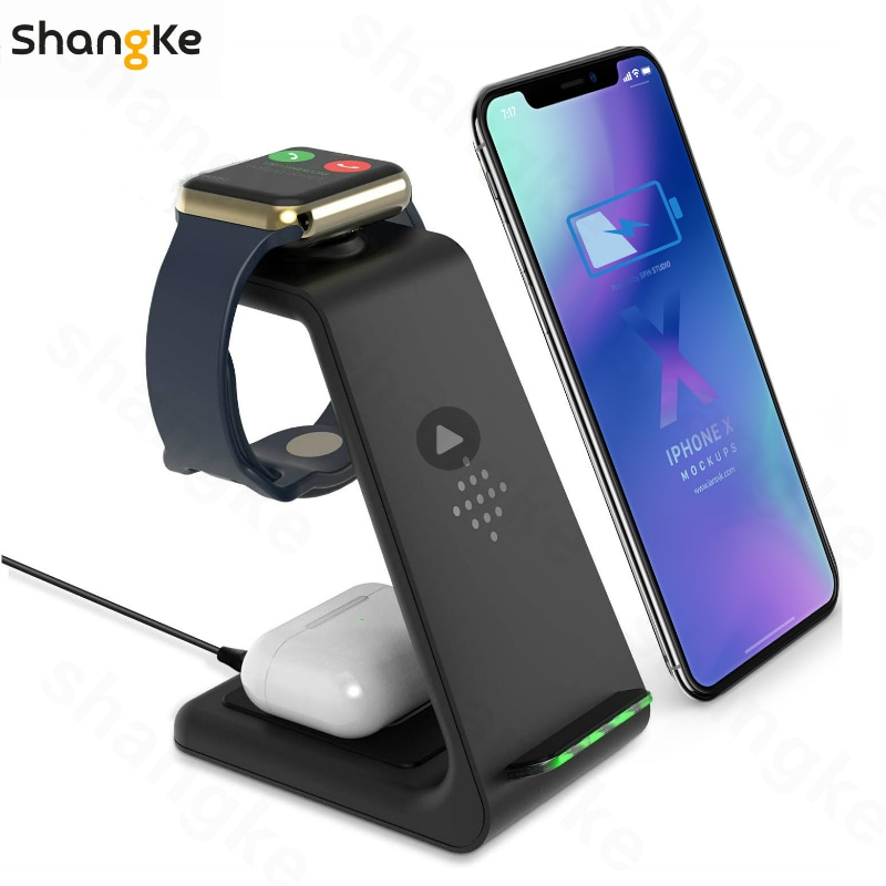 Wireless Charger 3 In 1 Fast Charge For Iphone SE/11/XR/8Plus