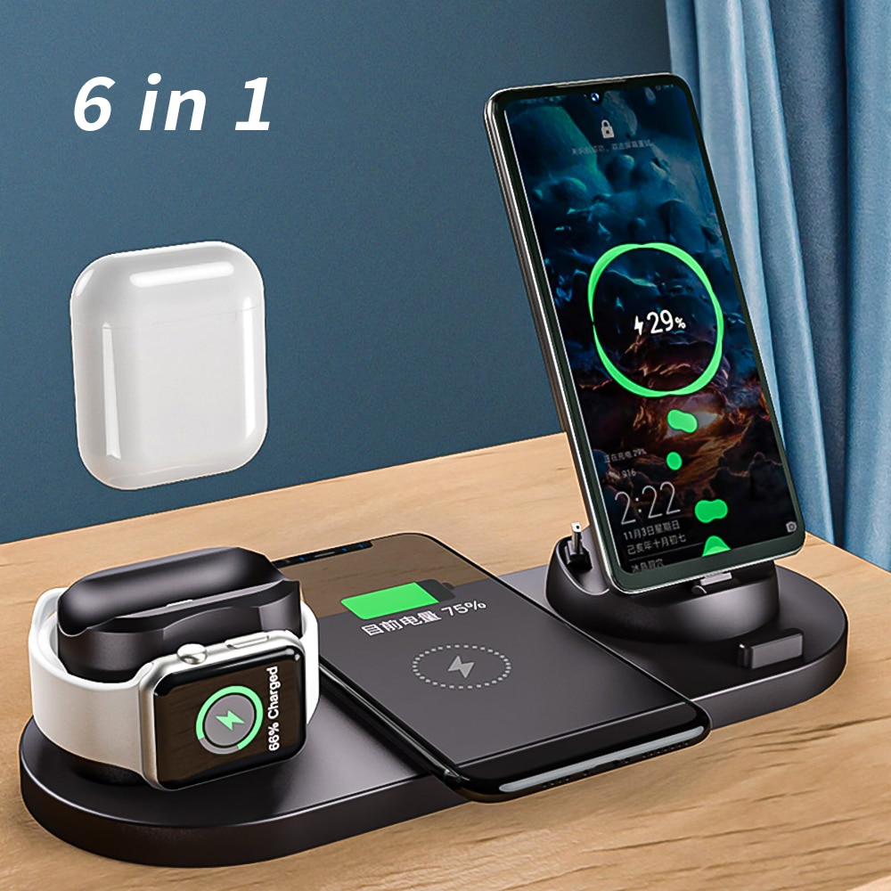 Wireless Charger Station For Apple Watch iPhone Airpods Pro 6