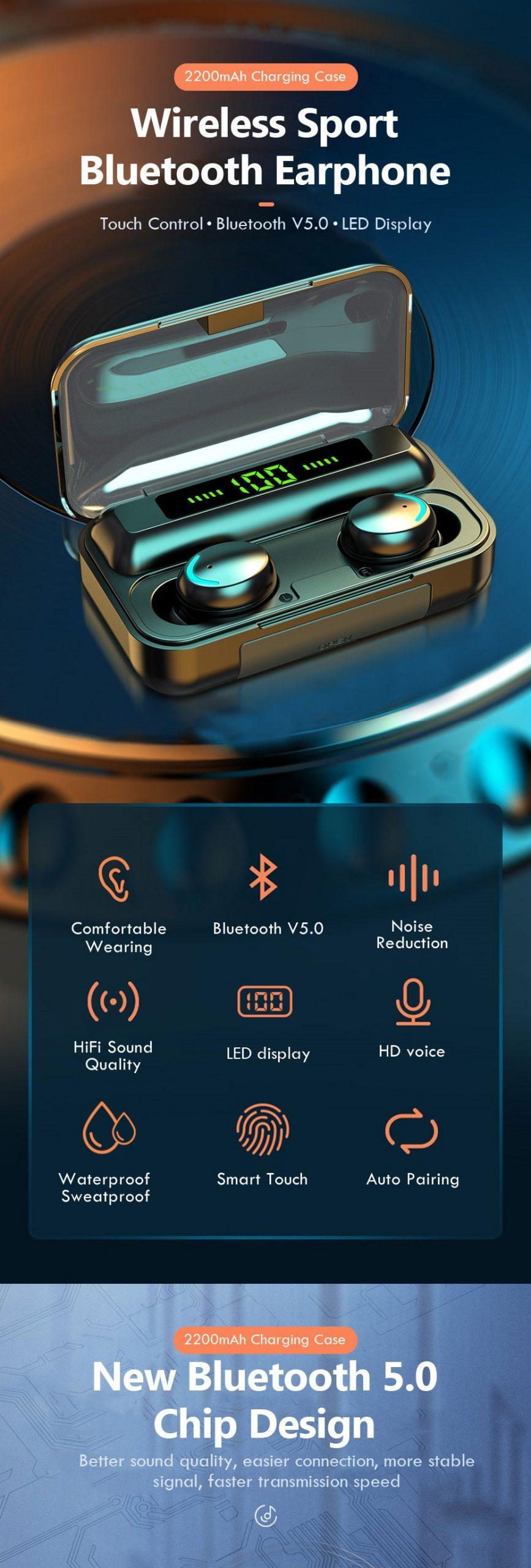 TWS Bluetooth Earphone V5.0 9D Stereo Wireless Headphones Sport Waterproof Earphones Mini True Earbuds Headsets for cellphone