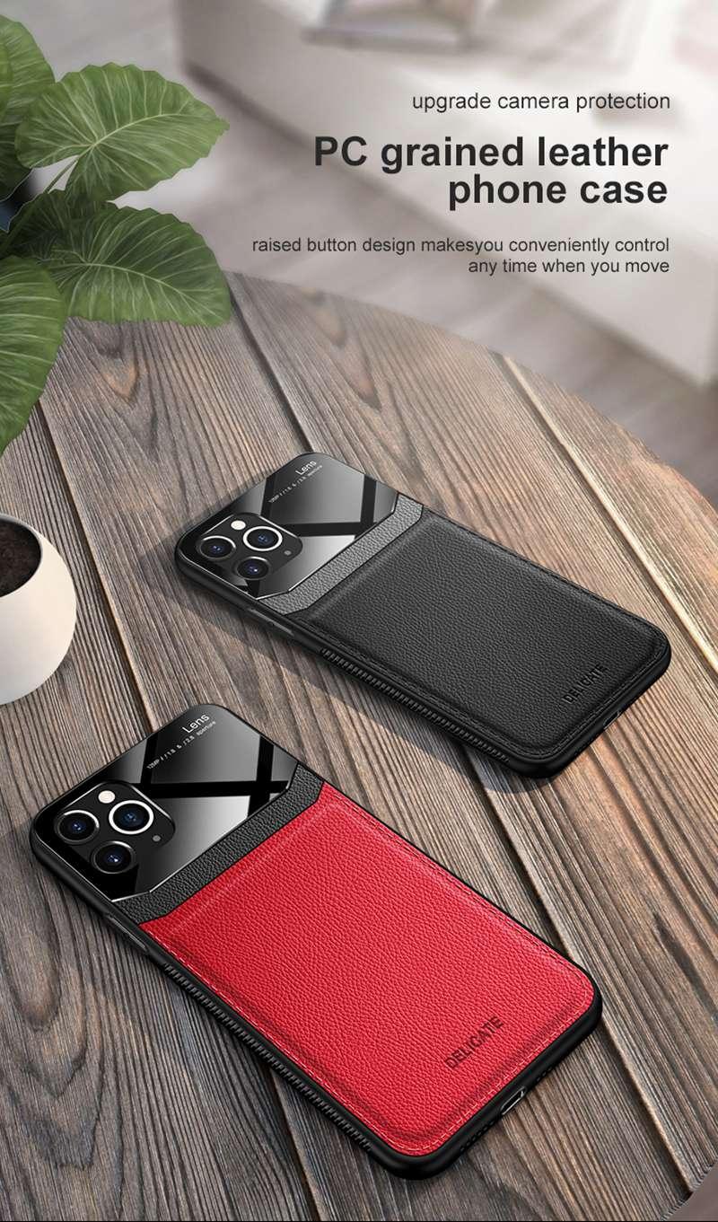 iPhone 11 Pro Max PU Leather Mirror Glass Phone
