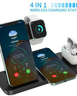 15W Fast Wireless Charger 4 in 1 Qi Charging Dock Station For iPhone 12 11 Pro XS MAX XR X 8 Apple Watch SE 6 5 4 3 AirPods Pro