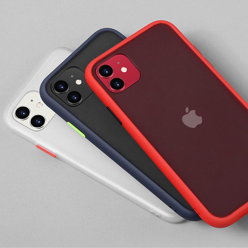 Iphone 11 Pro XR X XS Max 12 Simple Matte Bumper Phone Case