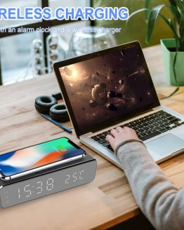 Wireless Charger LED Desk Alarm Clock Thermometer